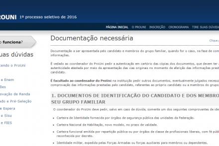 Documentos para ProUni