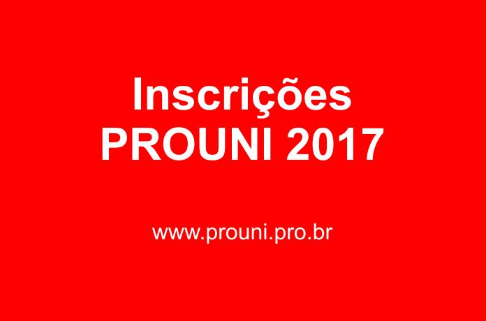Inscrições ProUni 2017